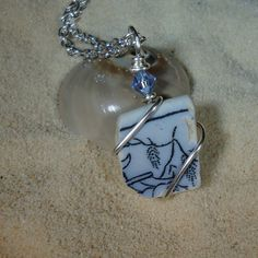 Wire wrapped sea glass pottery shard by atreasurefromthesea, $18.99