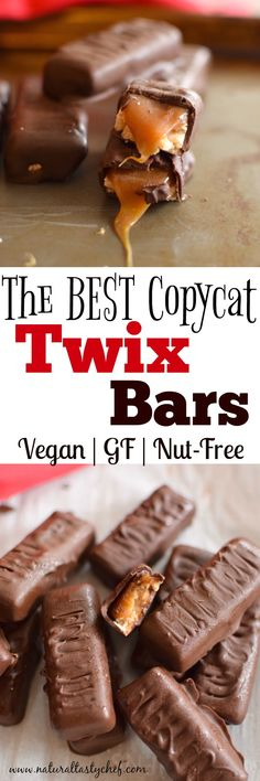 Vegan and Gluten Free Twix Bars that seriously close the the original! Shortbread cookie topped with vegan caramel and dipped in chocolate! Vegan, Gluten-Free, Soy-Free, Nut-Free, #vegan, #glutenfree, #nutfree, #candy, #candybars, #soyfree