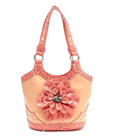 Love this Coral Floral Stud Shoulder Bag on #zulily! #zulilyfinds