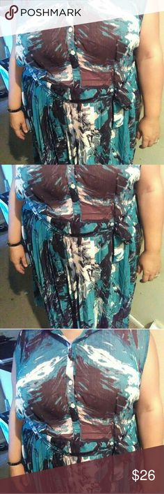 SWAK  Chiffon Plus Size Dress Beautiful swirling turquoise, white and brown unpatterned flowy dress. Re-Posh. Wore once myself but it is just too big. I'm a size 20 girl with a 42-44dd bust... this might work best for a size 24 or 26... I am 5'4 and it fit a bit past the knees. Top is sheer. I bought this as NWOT. SWAK Dresses