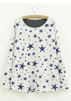 Beige Five-pointed Star Print Loose Cotton Blend Sweater