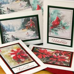 Quick and easy handmade cards with beautiful watercolor artwork! | Watercolor Christmas Greetings to Go #clubscrap