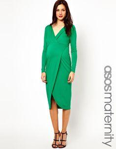 ASOS Maternity | ASOS Maternity Midi Dress With Wrap Skirt at ASOS