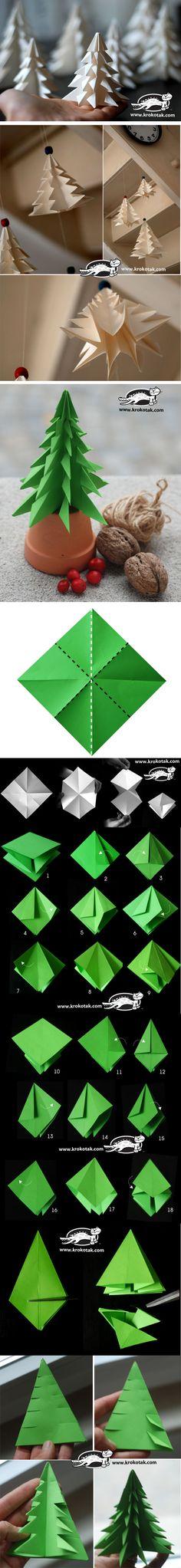 Sapin en origami  fait  maison...Beau  !!!