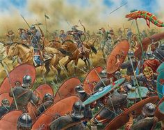 The Romans battle Attila's Barbarian coalition at the battle of Chalons, AD 451.