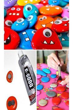 Rock Monster Magnets - Easy Summer Crafts for Kids to Make - Click for Tutorial