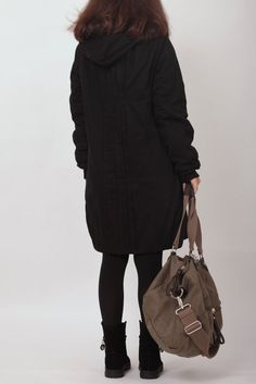 Hooded design, cotton lining, back fold design, the whole dress look less monotonous, cuffs Luo mouth design, the #winter will be very warm.  Fabric; Cotton Color; black Siz... #blouse #padded #warm #hoodie #tunic #babydol #loose #black