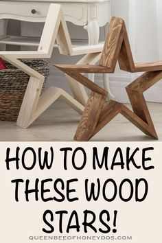 How To Make Wooden Stars! How To Make Wooden Stars!,DIY Woodworking Wood stars are super easy and super trendy! With a little paint and/or stain, the possibilties are endless. Woodworking Projects That Sell, Woodworking Crafts, Woodworking Plans, Easy Woodworking Ideas, Woodworking Apron, Woodworking Equipment, Woodworking Machinery, Woodworking Videos, Woodworking Patterns