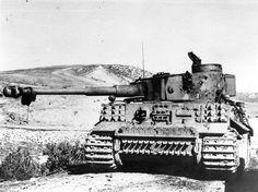 Le Tiger n°231 de la 2./schwere Heeres-Panzer-Abteilung 501 détruit sur le front Tunisien. De multiples impacts d'obus antichars sont visibles sur la tourelle.