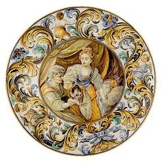 """Carlo Antonio Grue, """"Judith and Holofernes,"""" earthenware with tin glaze (maiolica), Private Collection Porcelain Ceramics, China Porcelain, Judith And Holofernes, Baroque, Italian Art, Italian Tiles, Hermitage Museum, Portrait Pictures, Glazes For Pottery"""