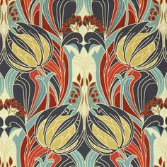 Kate Nouveau Fabric A bold fabric featuring an Art Nouveau design of scrolling leaves and artichoke heads, printed in navy blue, orange and chartreuse.