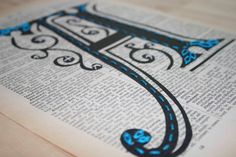 Hand Embroidered typography, Art Nouveau Monogram, Upcycled Dictionary Page Vintage Book Art, Hand Stitched Turquoise Initial, Swirly font on Etsy, $40.00