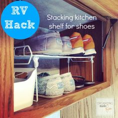 Camping Recipes RV Hack - use kitchen stack shelves for shoe space ::OrganizingMadeFun. How Soundp Travel Trailer Organization, Camping Organization, Small Space Organization, Motorhome Organisation, Kitchen Organization, Ikea Hacks, Rv Hacks, Shoe Storage Hacks, Camper Storage