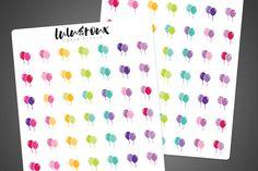 Balloon Stickers set of 48 // Planner Stickers for Happy Planner Erin Condren Life Planner Filofax // #0122 by LuluRouxStudio
