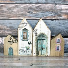 Wood Block Crafts, Wood Blocks, Wood Projects, Large Photos, Little Houses, Bird Houses, Driftwood, Decoupage, Birdhouse Ideas
