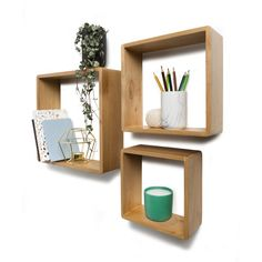 Set of 3 Floating Wall Cube Book Shelves Square Storage Home Decor Natural Brown Industrial Wall Shelves, Pallet Shelves, Wood Shelf, Cube Shelves, Display Shelves, Cube Wall Shelf, Wall Cubes, Wall Decor, Room Decor