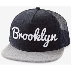 Express Brooklyn Baseball Hat ($15) ❤ liked on Polyvore featuring men's fashion, men's accessories, men's hats, blue, mens baseball caps, mens baseball hats, mens hats and mens ball caps