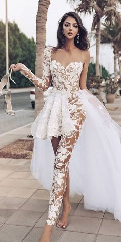 Trend 27 Wedding Pantsuit & Jumpsuit Ideas ❤ wedding pantsuit ideas with one sleeves lace overskirt sexy merita merja hochzeitsgast dresses Country Bridesmaid Dresses, Long Wedding Dresses, Bridal Dresses, Prom Dresses, Maternity Dresses, Dress Wedding, Business Style Women, Elegante Jumpsuits, Elegant Dresses
