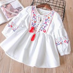 Hurave drawstring lantern Sleeve floral Baby Girls Clothes Children dress causal denim embroidery tassel infant dresses Hurave drawstring lantern Sleeve floral Baby Girls Clothes Children dress causal denim embroidery t Cute Girl Dresses, Toddler Girl Dresses, Infant Dresses, Fashion Kids, Fashion Outfits, Matching Family Outfits, Lolita Dress, Tie Dress, Baby Dress