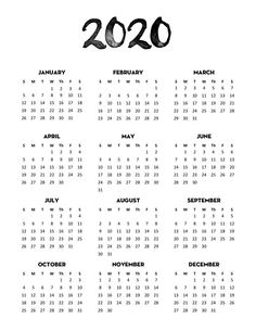 Free 2020 Calendar Printable One Page - Lovely Planner Free Calendar 2020 Printable One Page in 4 different minimalist designs and 3 sizes (US letter, Classic Happy Planner).This Free Printable year at a glance calendar will help you stay organized. 2020 Calendar Template, Print Calendar, Free Printable Calendar, Printable Planner, Calendar Journal, Calendar Layout, Diy Calendar, Desk Calendars, Bullet Journal Printables