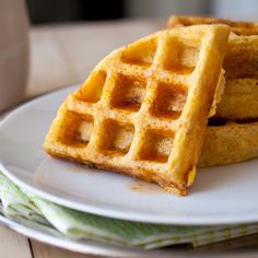 Jalapeno Corn Waffles With Sriracha Maple Syrup (This waffle batter has cheese, jalapeno and corn kernels, and the maple syrup is spiked with wicked Sriracha)