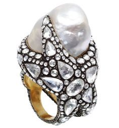 """Sevan ring. Baroque pearl with diamonds in a """"blackened"""" silver setting over gold."""