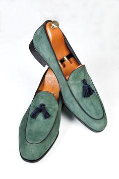 Handmade Green Loafer Suede Men Shoes