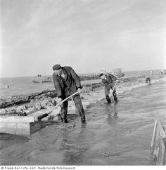 Construction of the Knardijk (dike), Flevoland, 1955-1957