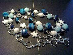 """Collana """"stella marina"""" con agata blu e acquamarina by Bigiotteria che Passione!!"""