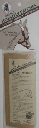 """12 Trednot Horsefly Patches / Sticky Horse Fly Traps by Trednot. $7.00. Shelf Life: 5 years.. Contents: 12 Patches   2"""" x 6"""". Adhesive Patch traps Horseflies as they land. Trednot Horsefly Traps are a 2"""" x 6"""" adhesive strip that trap Horseflies. Used mainly in the stable windows and on the horse's halter or bridle. Traps Horseflies and Deerflies...any flies that like to bite horses."""