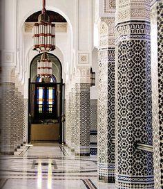 Zellij-covered columns in La Mamounia Hotel. Featured in Marrakesh by Design book.