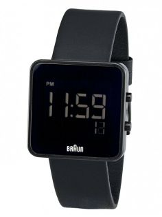 Buy Men's Square Digital Watch - Black Face, Black Leather Band from Braun. After a hiatus of many years, Braun watches and clocks are back in productio. Cool Watches, Watches For Men, Popular Watches, Black Watches, Big Watches, Dieter Rams Design, Mens Digital Watches, Design Industrial, Product Design