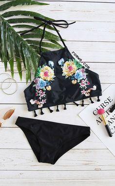 Black Floral Print Fringe Hem Halter Bikini Set