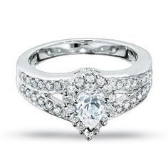 1 CT. T.W. Pear Shaped Diamond Split Shank Engagement Ring in 14K White Gold | Kaboodle