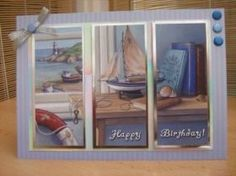 """This lovely card measures A5 in size and comes with a white envelope and protected in a cello bag. The topper features a model sailing boat scene and has been split into 3 parts. The toppers have silver foiled accents around the edges and have been raised to give dimension. The sentiment reads """"Happy Birthday"""". Card Candi, and a silver bow have been used to decorate. http://www.makesellbuy.com/products/view/136299154995/handmade-birthday-card-mens-sailing-boat"""