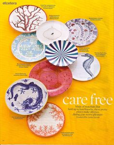 assorted melamine dishes would be perfect to keep around for gatherings instead of breakables or paper plates and plastic cups