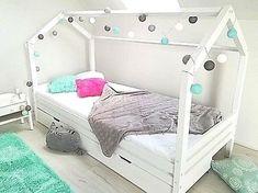 Kinderhaus Kinder Hausbett 90x200 weiss sicherheitbarrieren Matratzenschublade