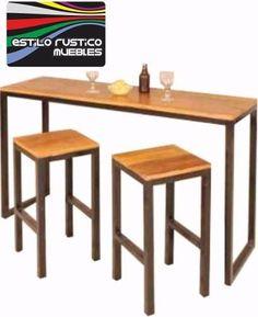 Barra Desayunador Hierro Y Madera Diseño Industrial - $ 2.199,00 en Mercado Libre. Bar stools for kitchen island.