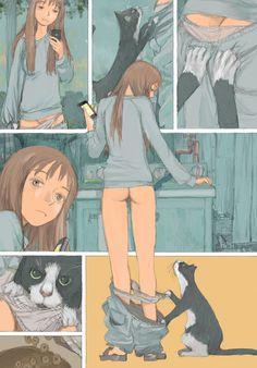 "laikagohome: "" tsuruta kenji's hita hita short, ""futari no tenshi"" for rakuen la paradis web extra. "" I'm SO in love with his art style & stories ! Girls being daydreamers, full of love. Manga Art, Anime Art, Manga Anime, Comic Kunst, Comic Panels, Manga Comics, Illustrations And Posters, Erotic Art, Cyberpunk"