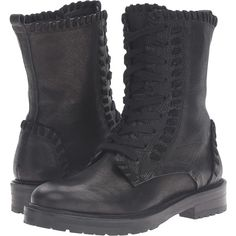 Kennel & Schmenger Contrast Stitch Combat Boot (Black Leather) Women's... ($490) ❤ liked on Polyvore featuring shoes, boots, ankle boots, black boots, black leather boots, military boots, short black boots and platform boots