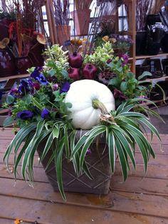 Fall Container Garden with Pumpkin