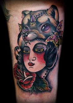 Adam Lauricella - Traditional Lady with Raccoon Skin Head Dress- Collaboration with Kelly Doty