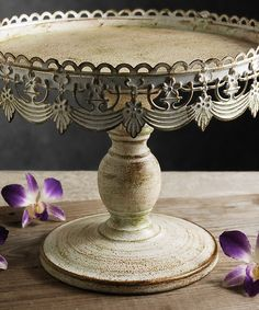 Distressed White Cake Stand | zulily
