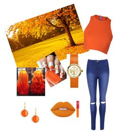 """""""Shimmering orange Autumn"""" by jasvirk on Polyvore featuring Lime Crime, Sydney-Davies, Tory Burch, Syna and WearAll"""