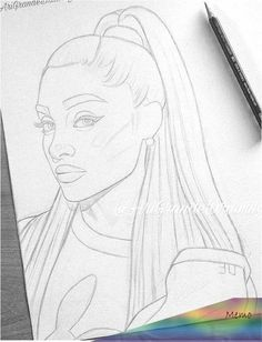 Skizzieren - New Sites Girl Drawing Sketches, Cartoon Girl Drawing, Art Drawings Sketches Simple, Pencil Art Drawings, Cute Drawings, Horse Drawings, Drawing Faces, Drawing Art, Ariana Grande Drawings