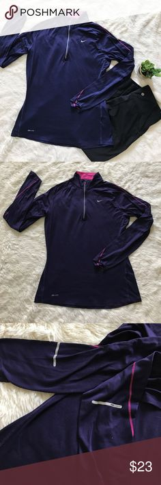 Nike Dri-Fit Long Sleeve Excellent condition. Perfect for the fall. In a beautiful deep purple. Super soft and stretchy. Bundle and save! 😊💕 Nike Tops Tees - Long Sleeve