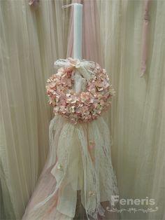 Λαμπάδα βάπτισης κορίτσι Palm Sunday, Christening, Flower Girl Dresses, Easter, Candles, Wedding Dresses, Fairytale, Entrance, Greek