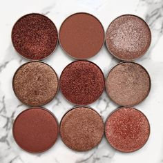 """From left to right  1. @makeupgeekcosmetics """"Flame Thrower"""" 2. @anastasiabeverlyhills """"Party Dress"""" 3) @makeupgeekcosmetics """"Starred Eye"""" 4) unknown 5) @anastasiabeverlyhills """"Henna"""" 6) unknown 7) @anastasiabeverlyhills """"China Rose"""" 8) unknown 9) @makeupgeekcosmetics """"In the Spotlight"""""""