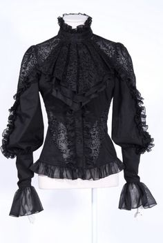 cf642cb2664d Women gothic blouse sexy black hollow out long sleeve slim blouse fashion  print applique puff sleeve victorian lace women blouse.