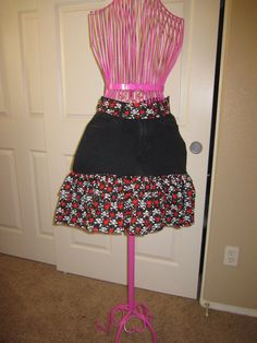 Womens Upcycled Denim Half Apron /  Black Jeans by www.facebook.com/ODark30Designs